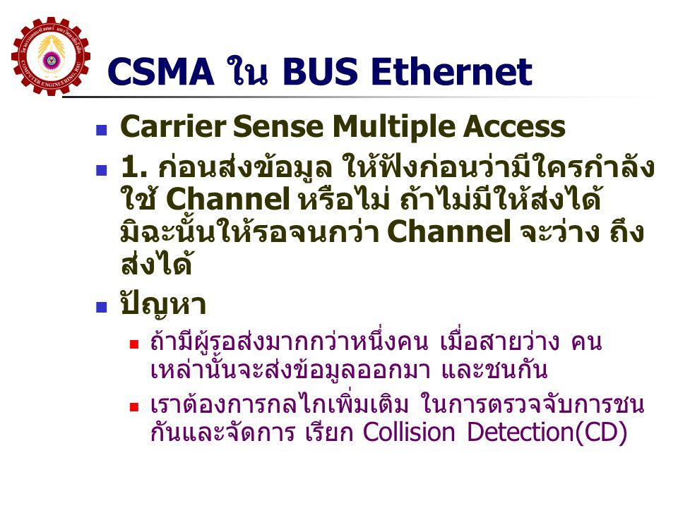 CSMA ใน BUS Ethernet Carrier Sense Multiple Access