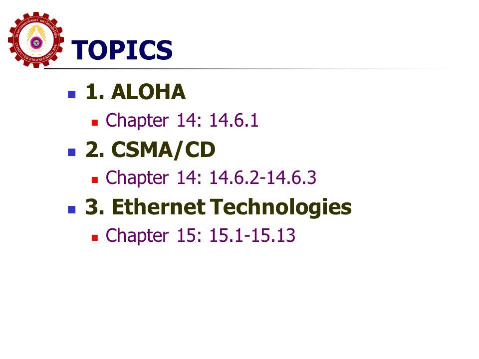 TOPICS 1. ALOHA 2. CSMA/CD 3. Ethernet Technologies Chapter 14: 14.6.1