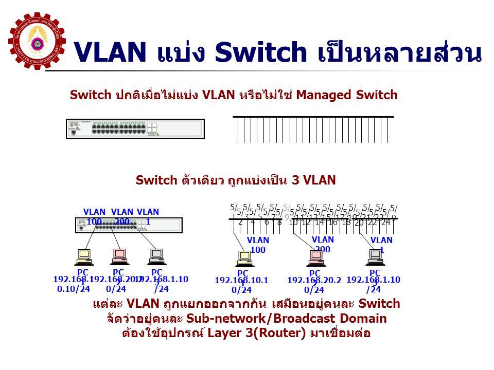 VLAN แบ่ง Switch เป็นหลายส่วน