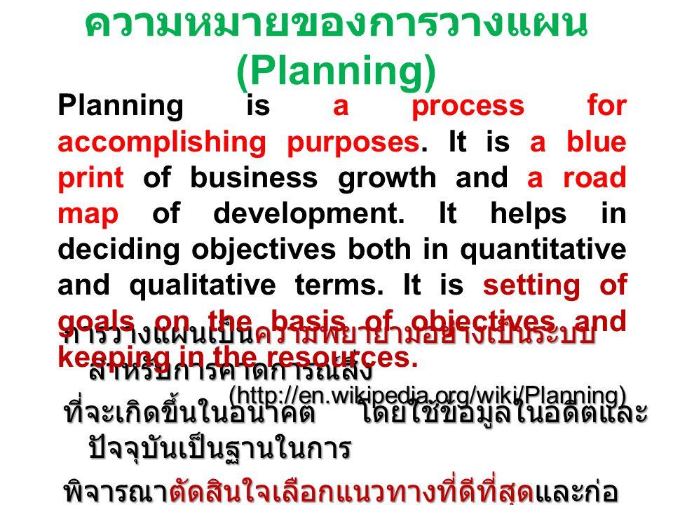 ความหมายของการวางแผน (Planning)