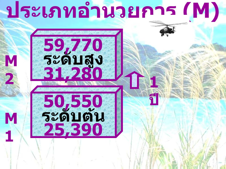 ประเภทอำนวยการ (M) 59,770 ระดับสูง 31,280 50,550 ระดับต้น 25,390 M2