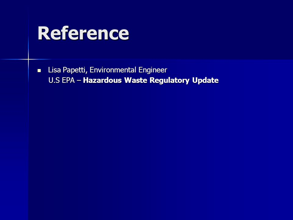 Reference Lisa Papetti, Environmental Engineer