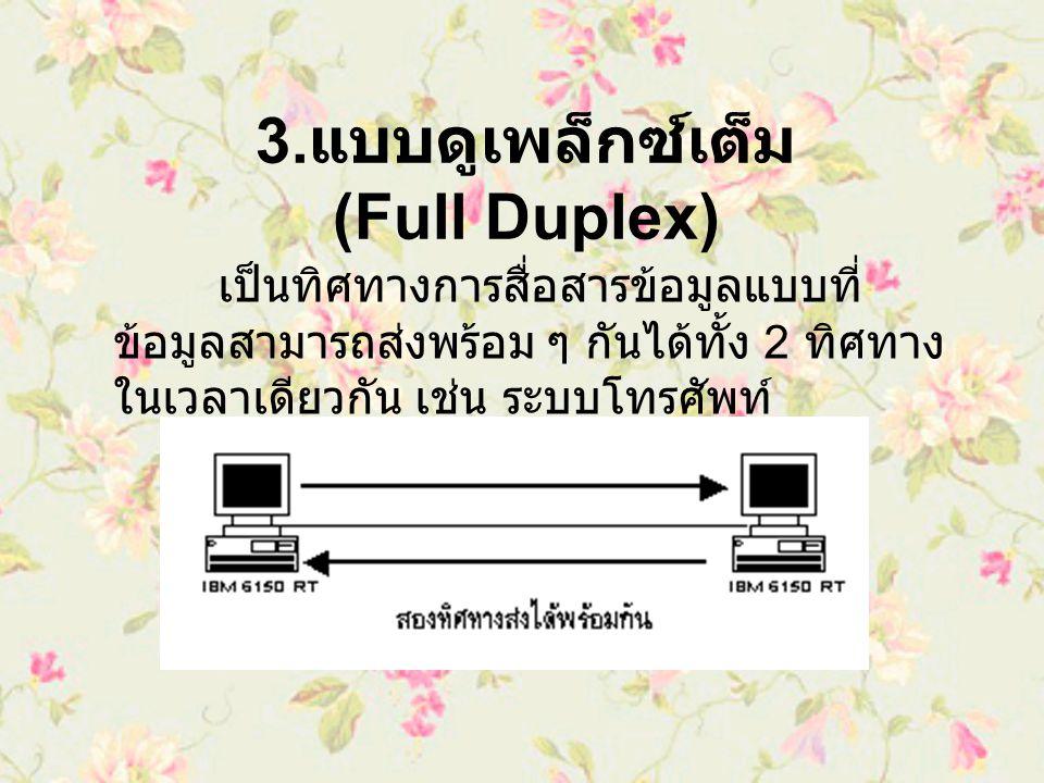3.แบบดูเพล็กซ์เต็ม (Full Duplex)
