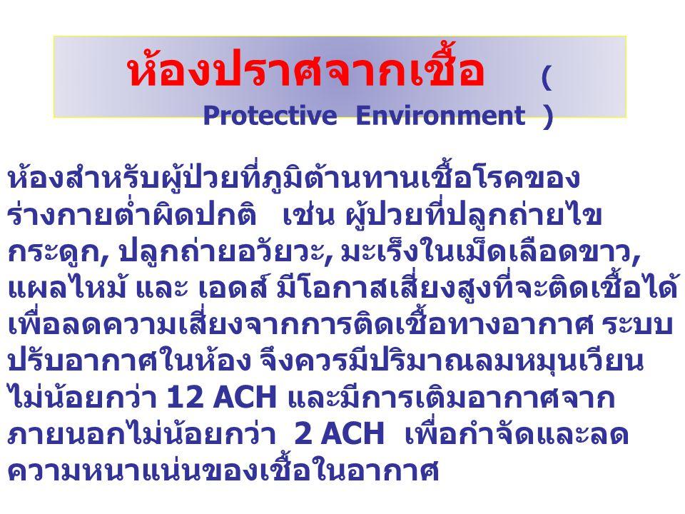 ห้องปราศจากเชื้อ ( Protective Environment )