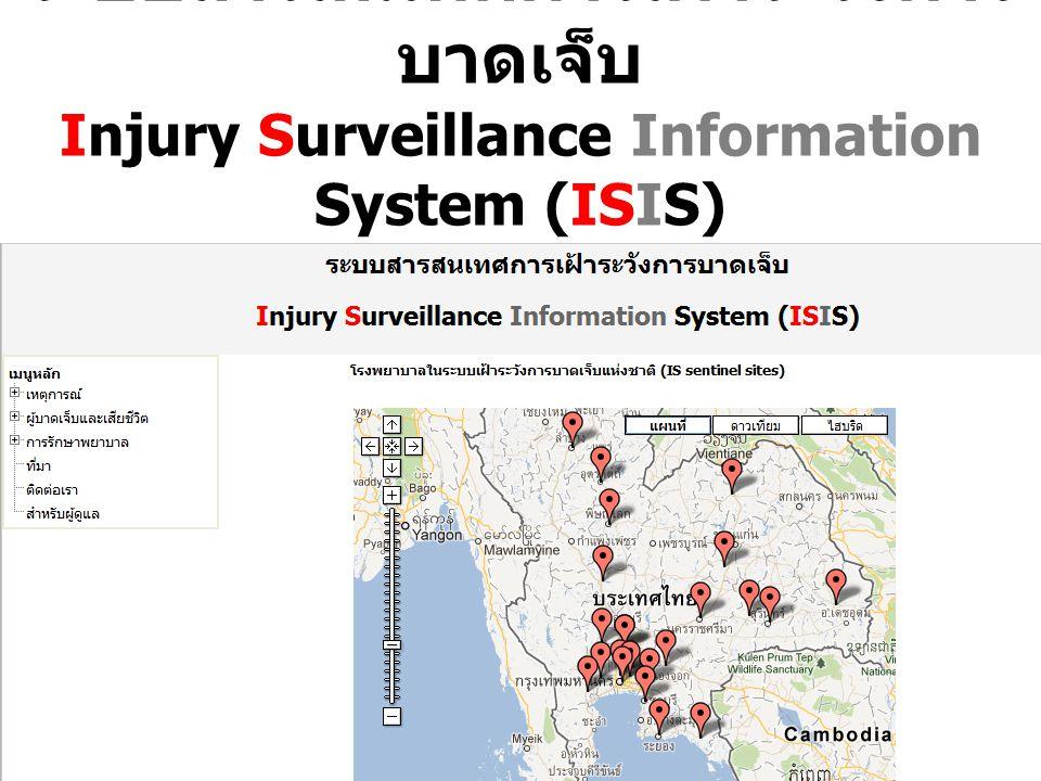 ระบบสารสนเทศการเฝ้าระวังการบาดเจ็บ Injury Surveillance Information System (ISIS) (URL: K4DS.org/~isis หรือ bit.ly/isisthai54)