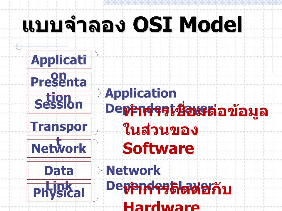 แบบจำลอง OSI Model ทำการเชื่อมต่อข้อมูลในส่วนของ Software