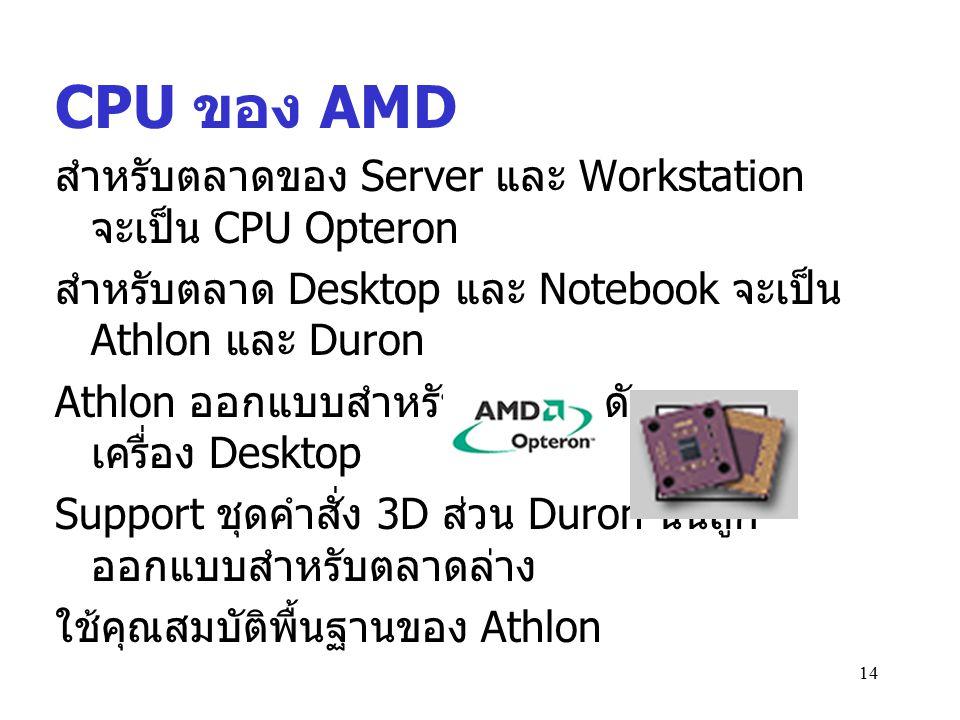 CPU ของ AMD สำหรับตลาดของ Server และ Workstation จะเป็น CPU Opteron