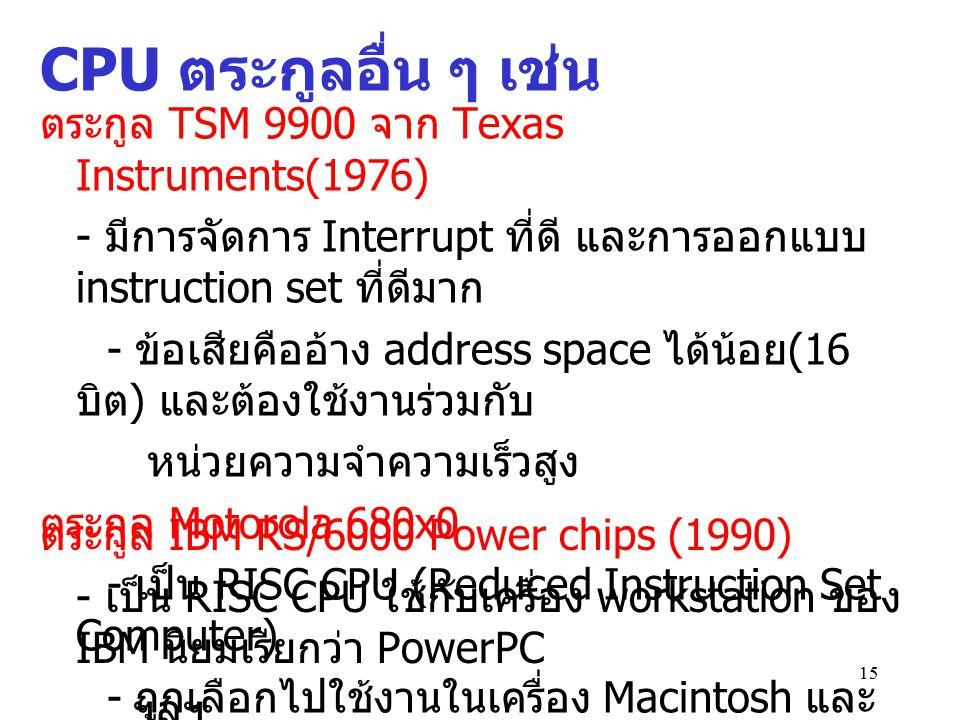 CPU ตระกูลอื่น ๆ เช่น ตระกูล TSM 9900 จาก Texas Instruments(1976)