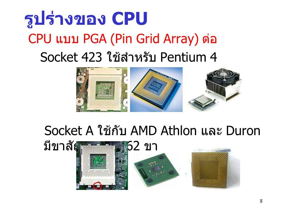 รูปร่างของ CPU CPU แบบ PGA (Pin Grid Array) ต่อ