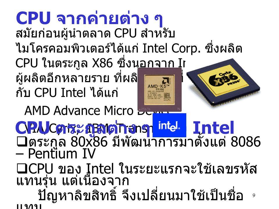CPU ตระกูลต่าง ๆ ของ Intel