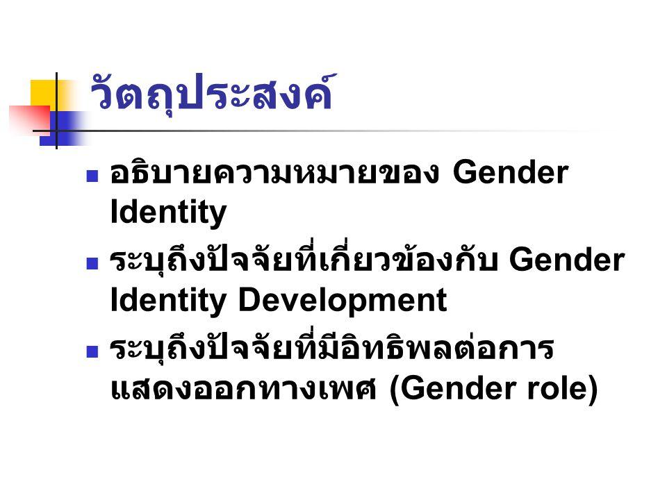 วัตถุประสงค์ อธิบายความหมายของ Gender Identity
