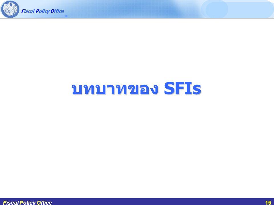 บทบาทของ SFIs ผศ.ดร.กฤษฎา สังขมณีFiscal Policy Office