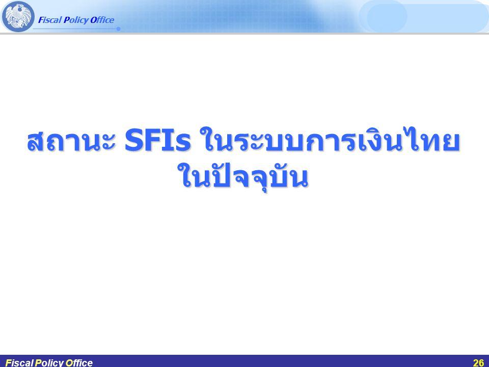 สถานะ SFIs ในระบบการเงินไทยในปัจจุบัน