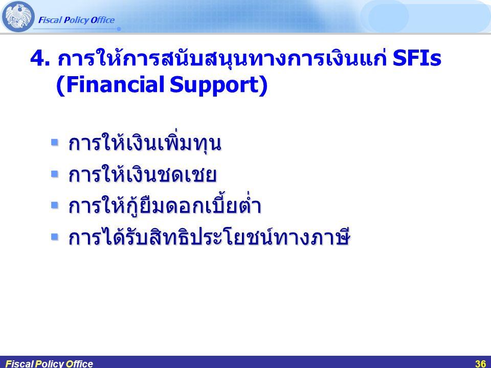 4. การให้การสนับสนุนทางการเงินแก่ SFIs (Financial Support)