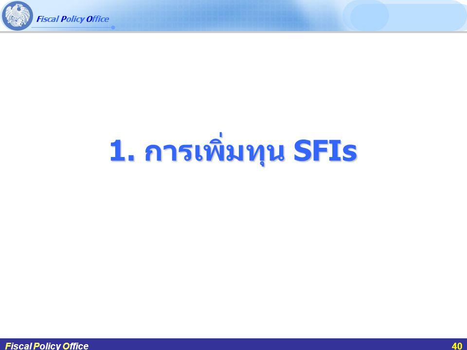 1. การเพิ่มทุน SFIs ผศ.ดร.กฤษฎา สังขมณีFiscal Policy Office