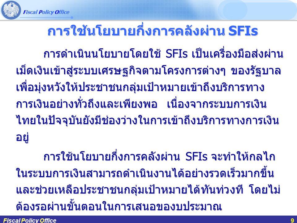 การใช้นโยบายกึ่งการคลังผ่าน SFIs
