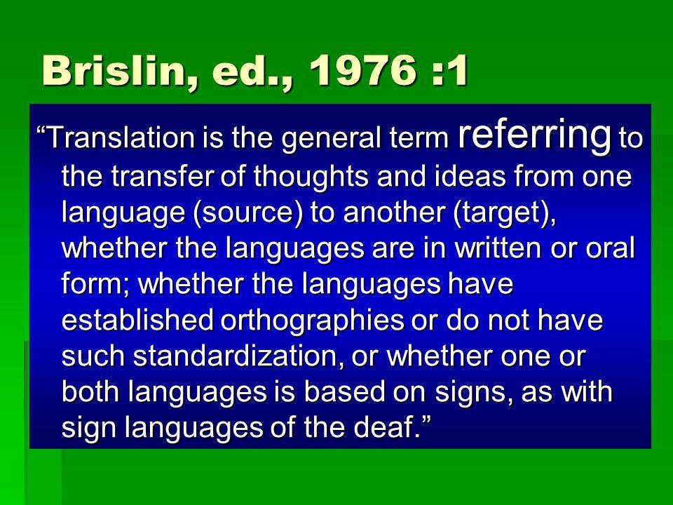Brislin, ed., 1976 :1