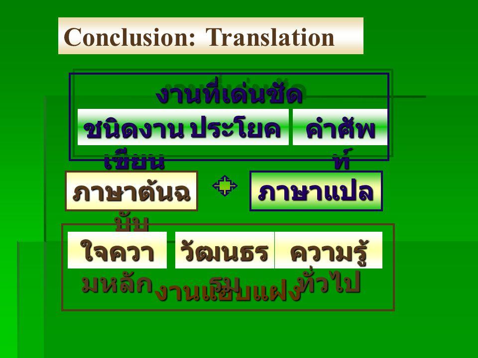 Conclusion: Translation