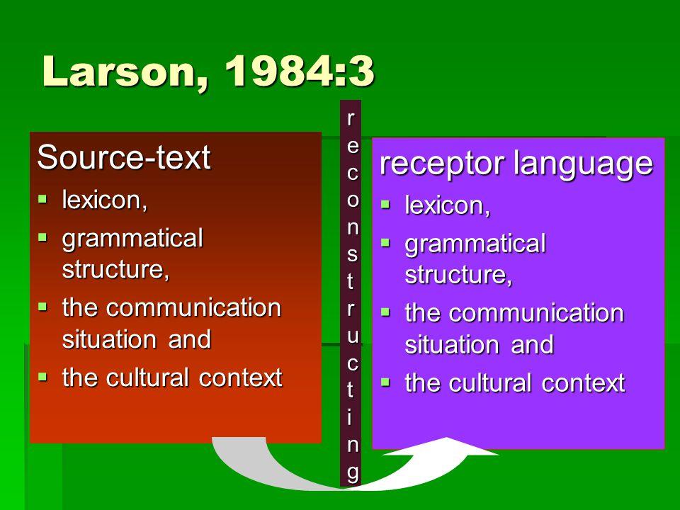 Larson, 1984:3 Source-text receptor language lexicon, lexicon,