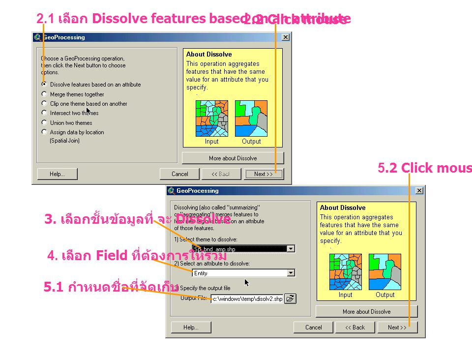 2.1 เลือก Dissolve features based on an attribute