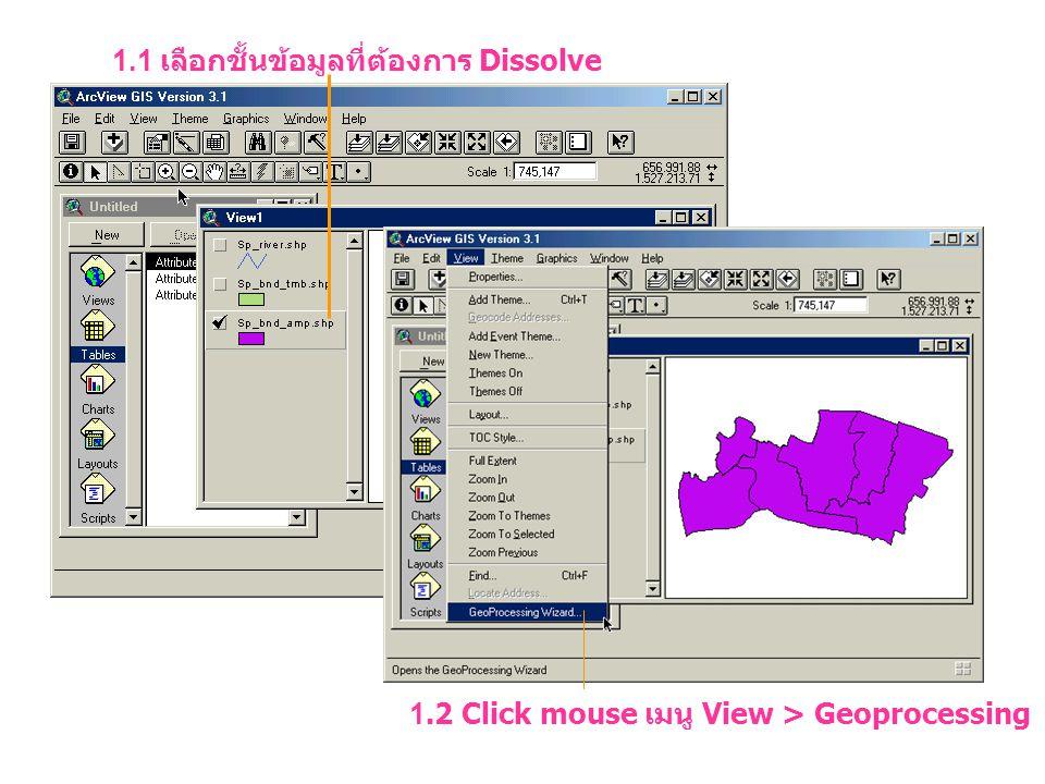 1.1 เลือกชั้นข้อมูลที่ต้องการ Dissolve