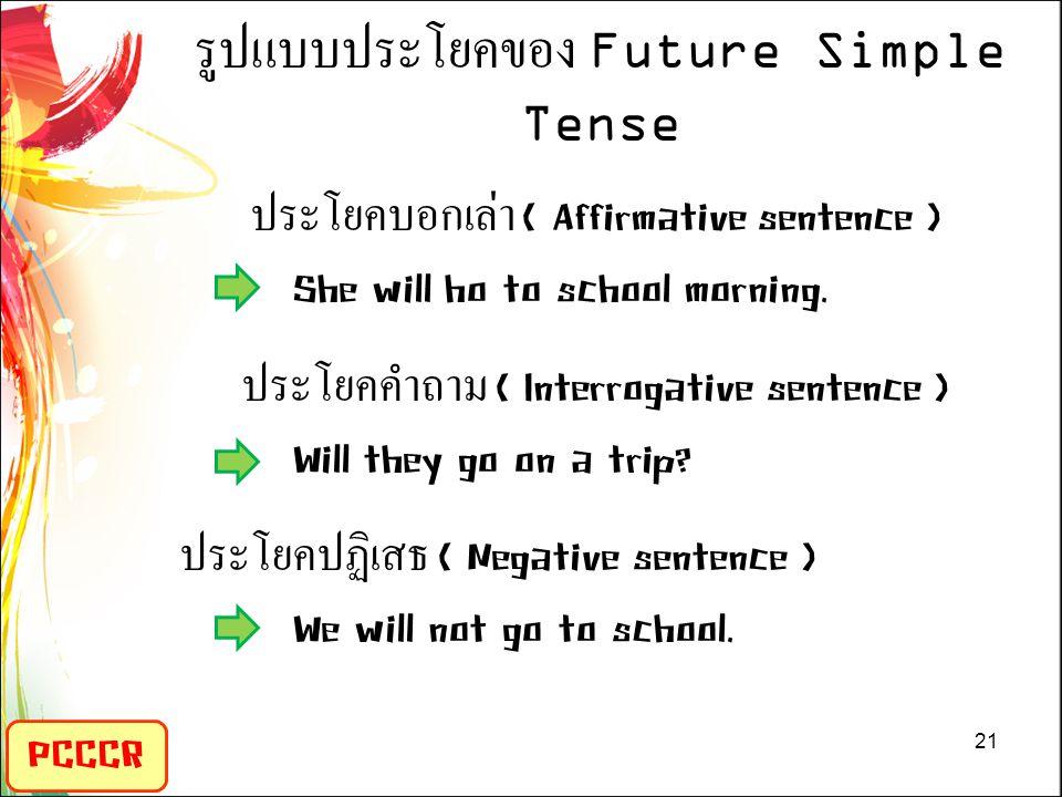 รูปแบบประโยคของ Future Simple Tense