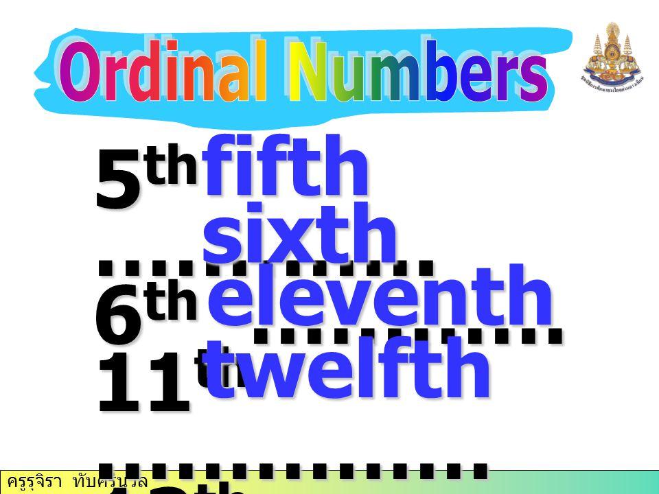 fifth 5th …………. 6th ………… sixth 11th …………… 12th…………… eleventh twelfth