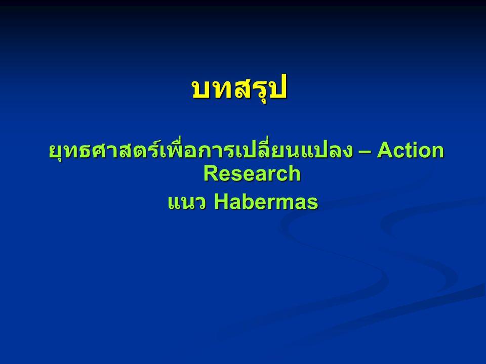 ยุทธศาสตร์เพื่อการเปลี่ยนแปลง – Action Research