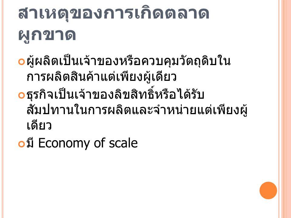 สาเหตุของการเกิดตลาดผูกขาด