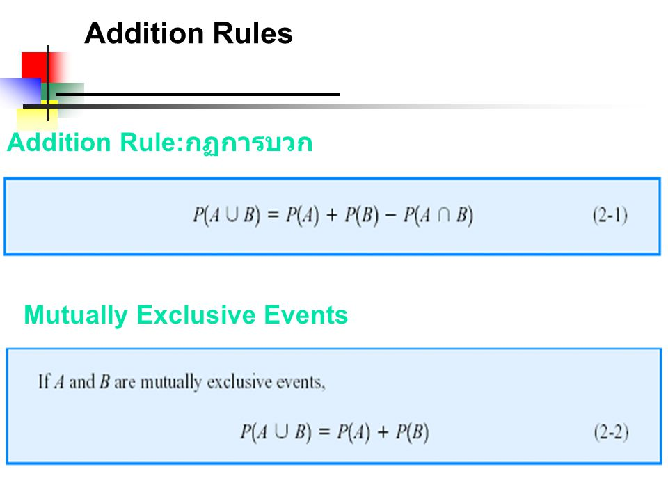 Addition Rules Addition Rule:กฏการบวก Mutually Exclusive Events