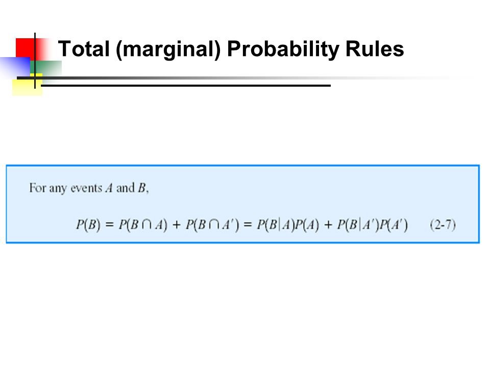 Total (marginal) Probability Rules