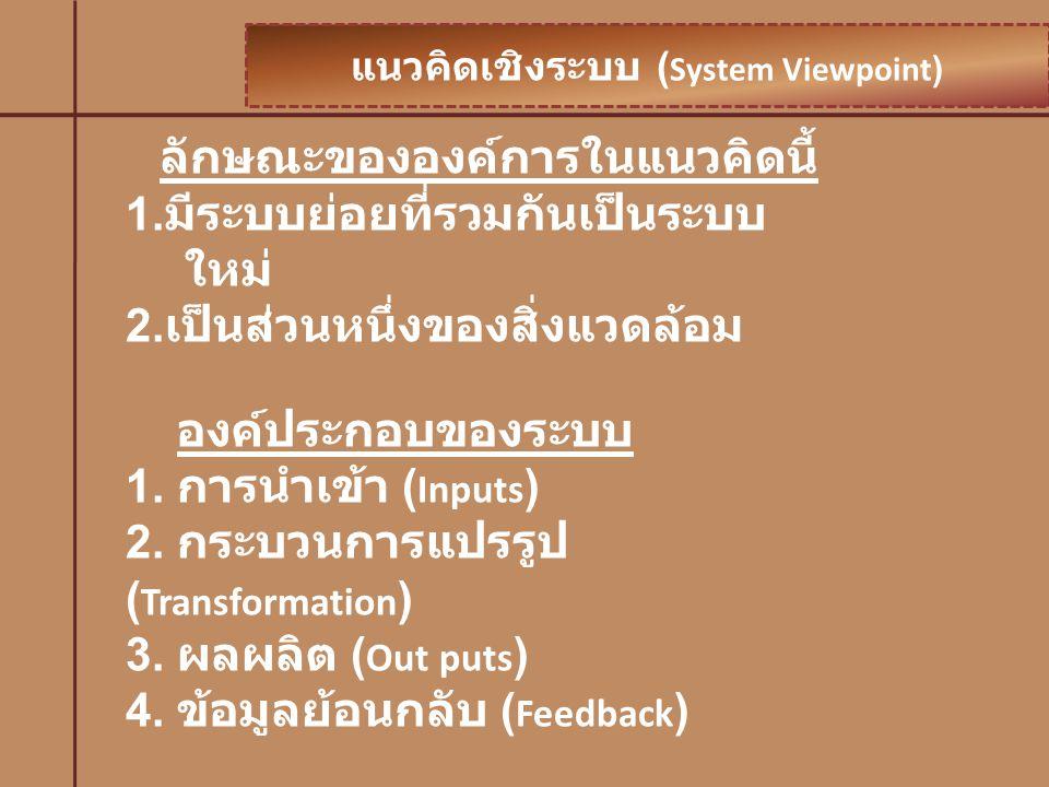 แนวคิดเชิงระบบ (System Viewpoint)