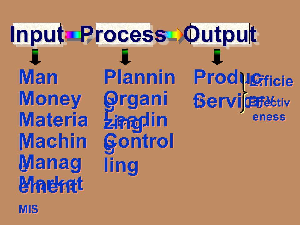 Input Process Output Man Planning Product Money Organizing Service