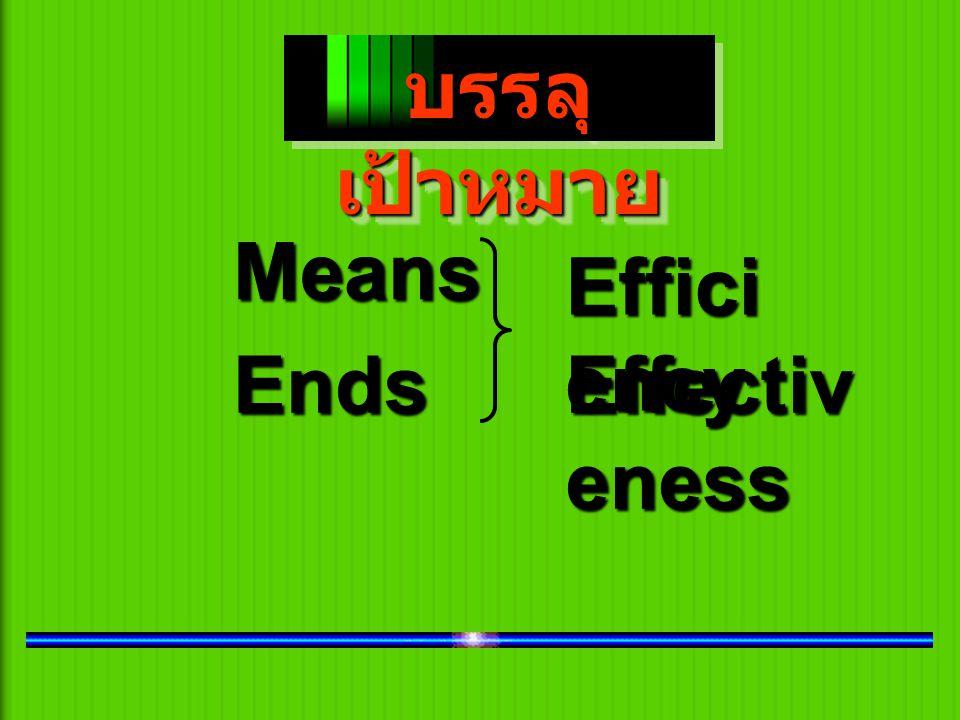บรรลุเป้าหมาย Means Efficiency Ends Effectiveness