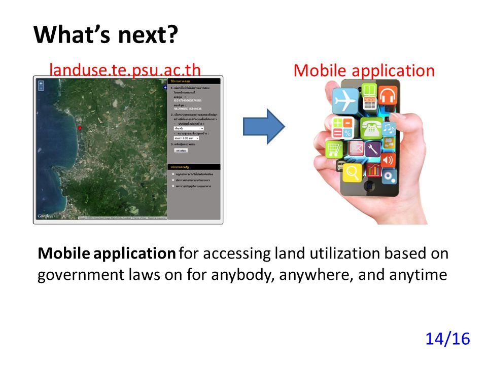 What's next landuse.te.psu.ac.th Mobile application 14/16