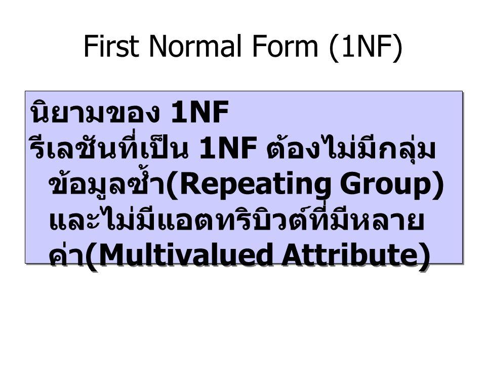 First Normal Form (1NF) นิยามของ 1NF.