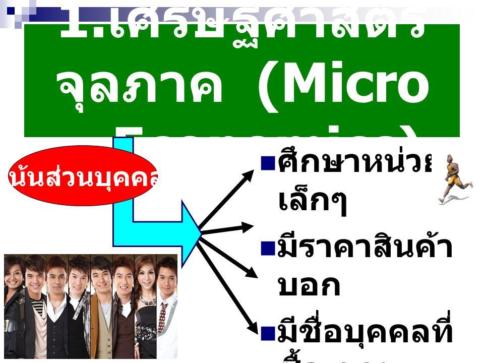 1.เศรษฐศาสตร์จุลภาค (Micro – Economics)