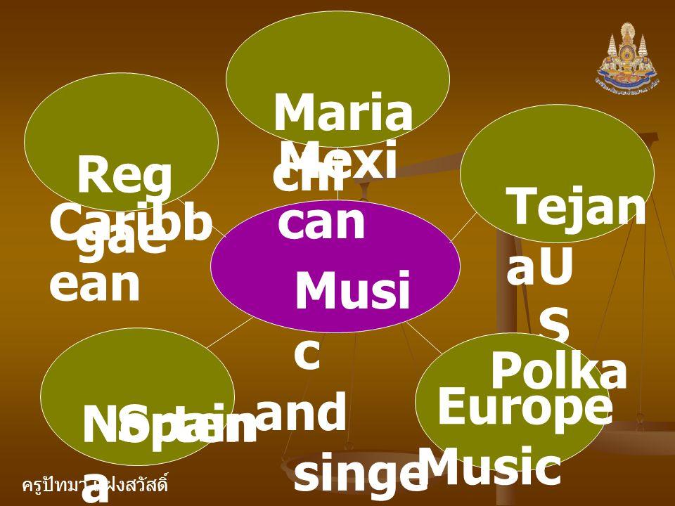 Mariachi Mexican Reggae Tejana Caribbean US Music and singers Nortena Polka Europe Music Spain