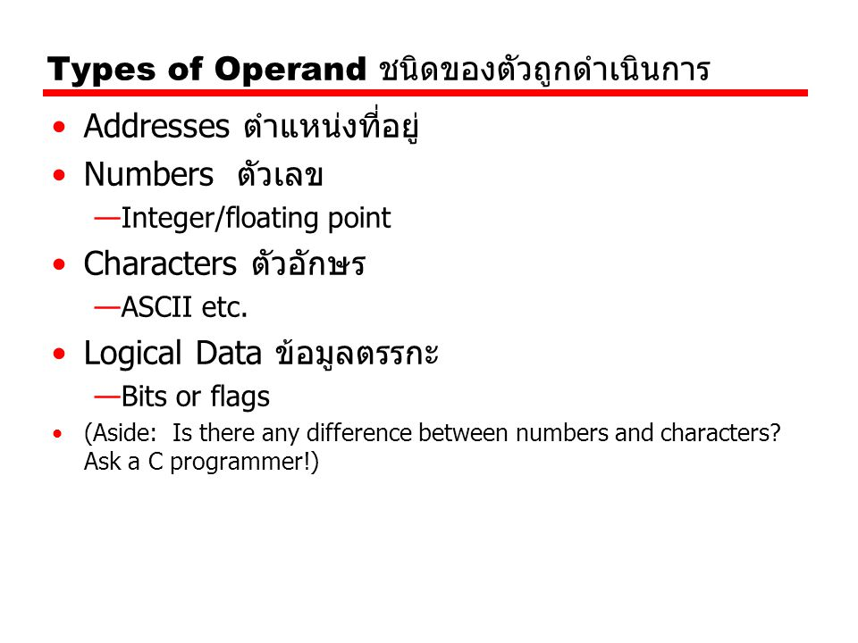 Types of Operand ชนิดของตัวถูกดำเนินการ