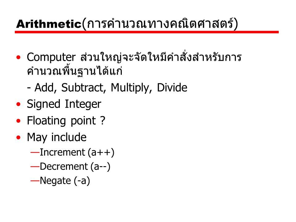 Arithmetic(การคำนวณทางคณิตศาสตร์)