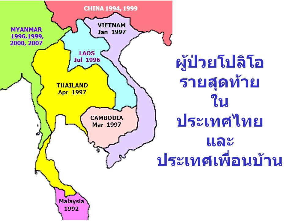 ผู้ป่วยโปลิโอ รายสุดท้าย ใน ประเทศไทย และ ประเทศเพื่อนบ้าน