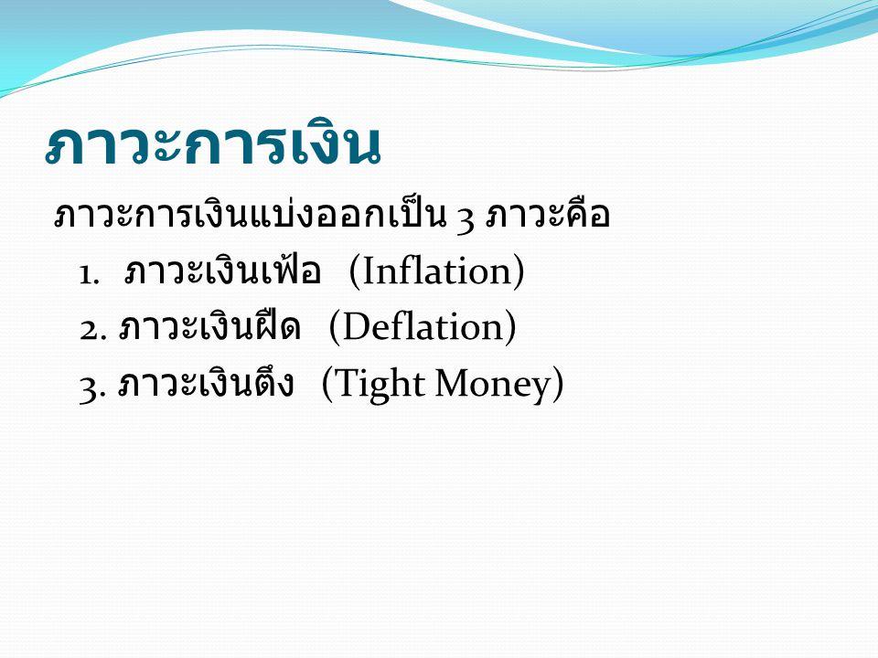 ภาวะการเงิน ภาวะการเงินแบ่งออกเป็น 3 ภาวะคือ 1. ภาวะเงินเฟ้อ (Inflation) 2.