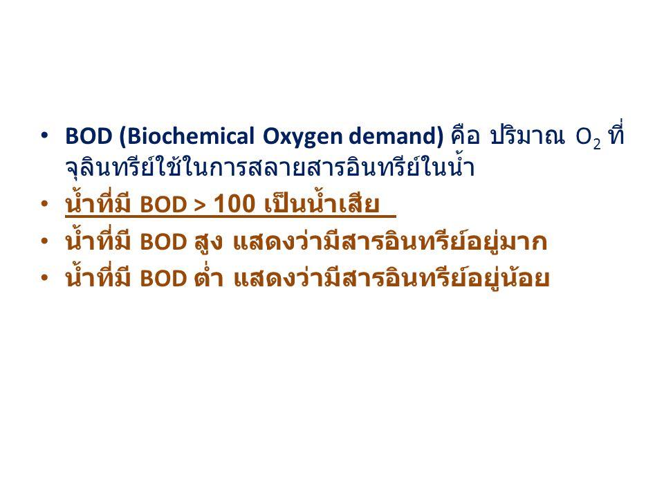 BOD (Biochemical Oxygen demand) คือ ปริมาณ O2 ที่จุลินทรีย์ใช้ในการสลายสารอินทรีย์ในน้ำ