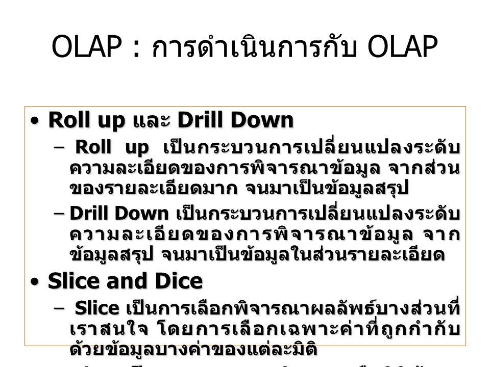 OLAP : การดำเนินการกับ OLAP
