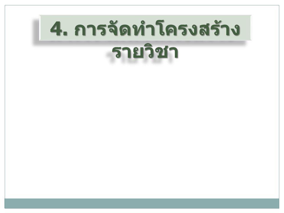 4. การจัดทำโครงสร้างรายวิชา