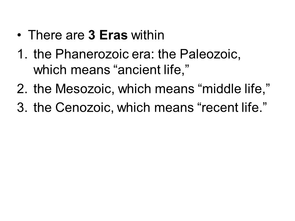 There are 3 Eras within the Phanerozoic era: the Paleozoic, which means ancient life, the Mesozoic, which means middle life,