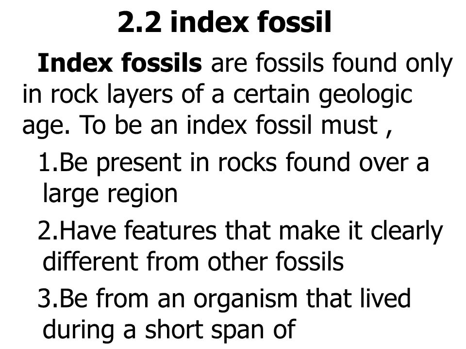 2.2 index fossil