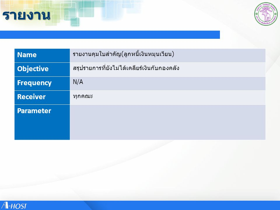 รายงาน Name Objective Frequency Receiver Parameter