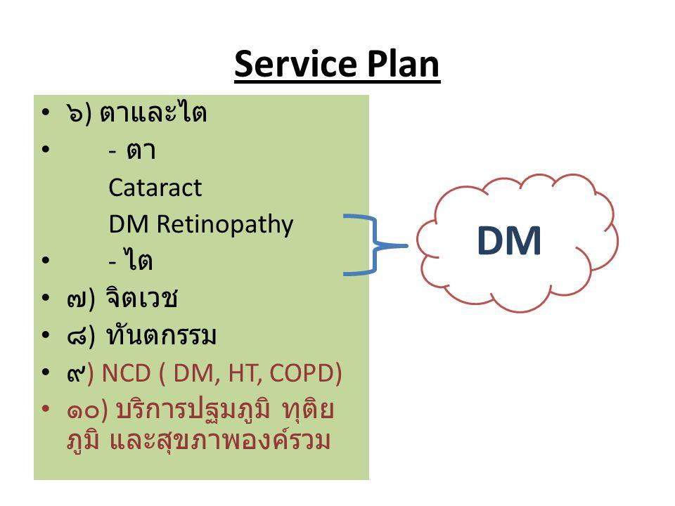 DM Service Plan ๖) ตาและไต - ตา Cataract DM Retinopathy - ไต ๗) จิตเวช