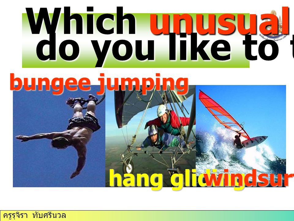 Which unusual sports do you like to try bungee jumping hang gliding